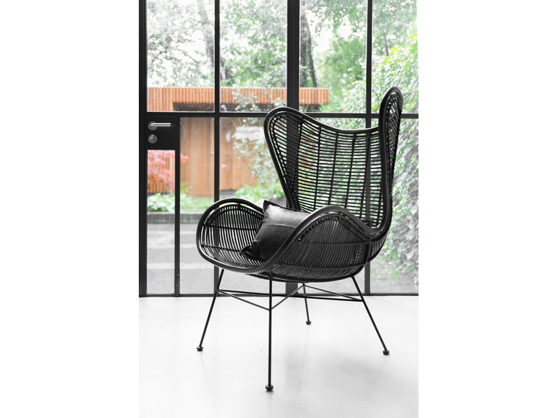 Rotan Egg chair HK Living zwart